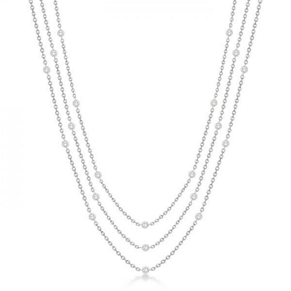 Three-Strand Diamond Station Necklace in 14k White Gold (1.40ct) #PAPPS21318