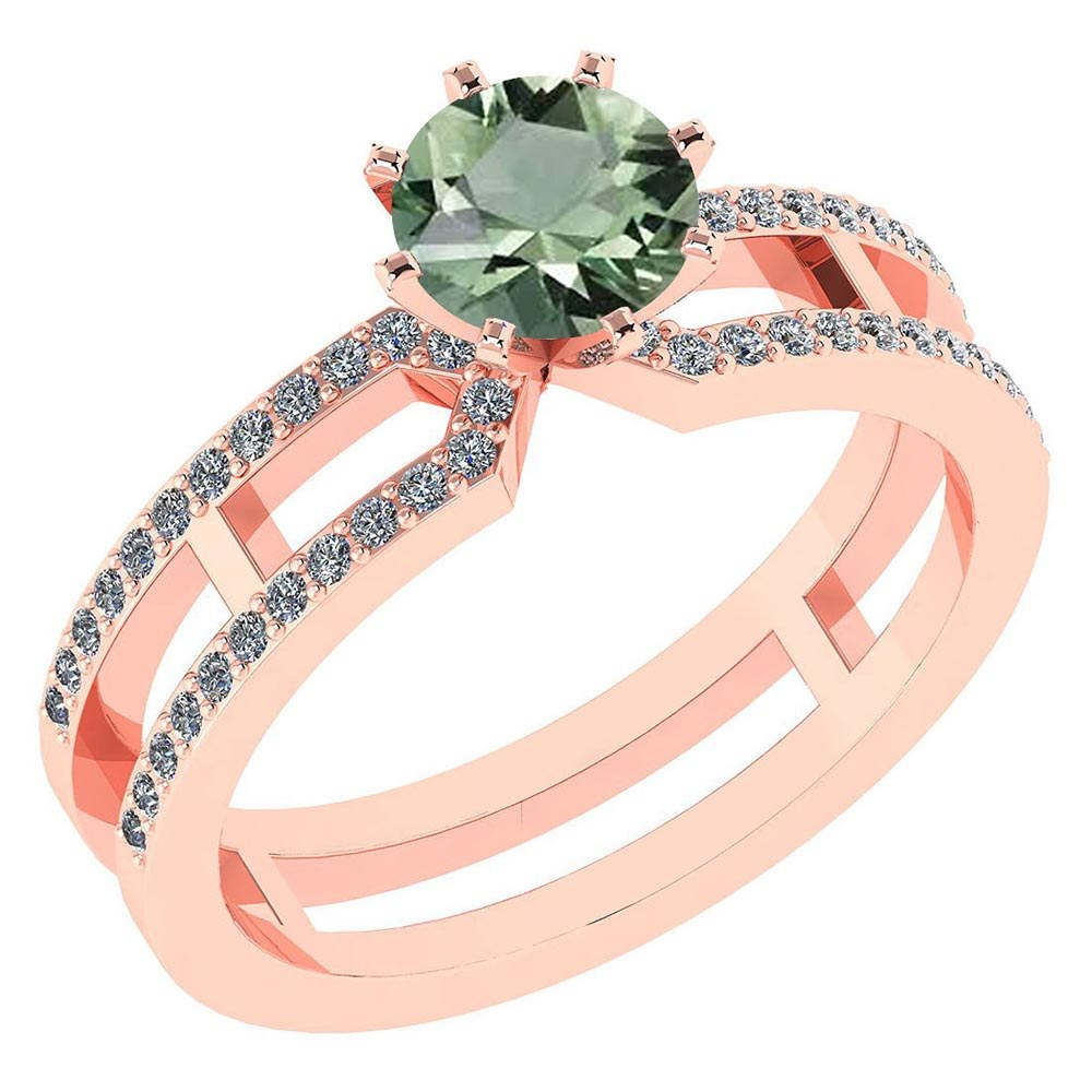 Certified 1.32 Ctw Genuine Green Amethyst And Diamond 14k Rose Gold Engagement Ring #PAPPS94642
