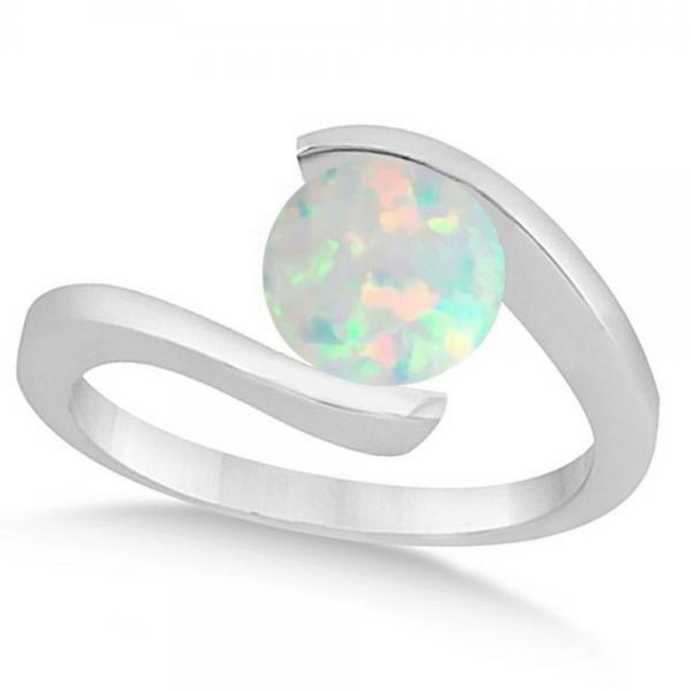 Tension Set Solitaire Opal Engagement Ring 14k White Gold 1.00ctw #PAPPS21202