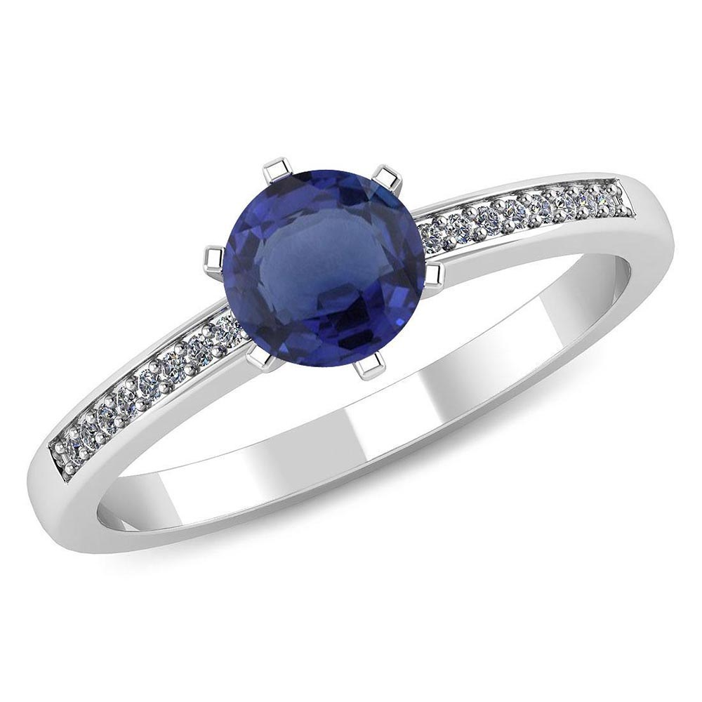 Certified 1.00 CTW Genuine Blue Sapphire And Diamond 14K White Gold Ring #PAPPS91456