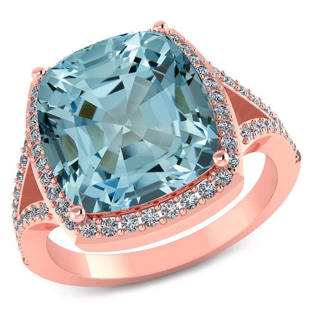 Certified 4.50 CTW Genuine Aquamarine And Diamond 14K Rose Gold Ring #PAPPS91553