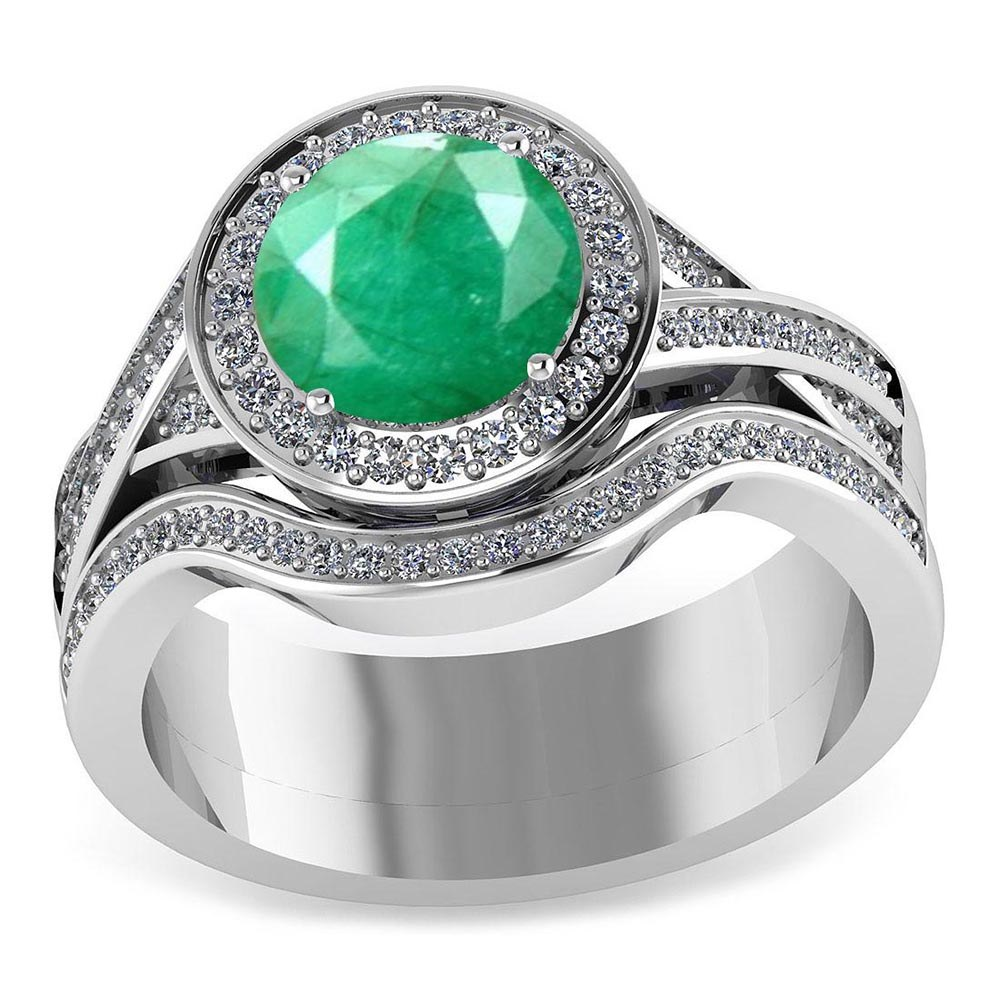 Certified 2.05 CTW Genuine Emerald And Diamond 14K White Gold Ring #PAPPS91436
