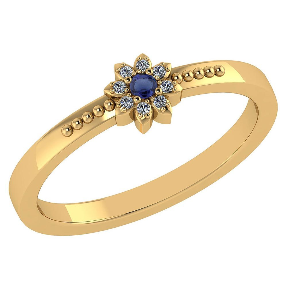 Certified .07 Ctw Genuine Blue Sapphire And Diamond 14k Yellow Gold Halo Ring #PAPPS94427