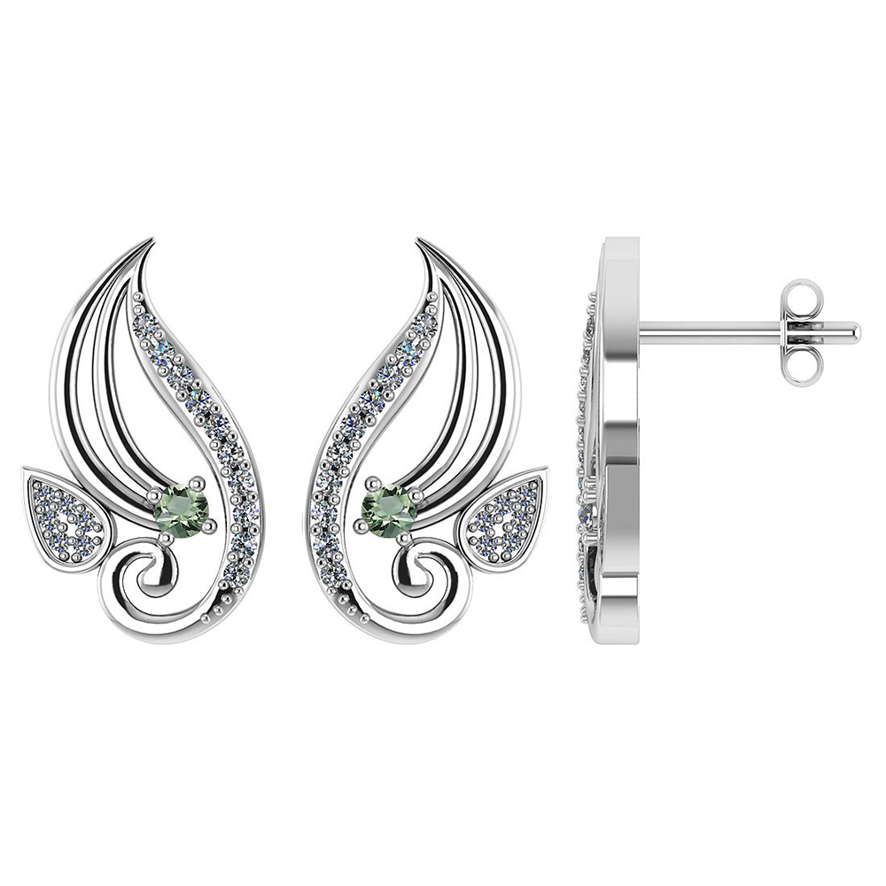 Certified .26 CTW Genuine Green Amethyst And Diamond 14K Yellow Gold Stud Earrings #PAPPS93579