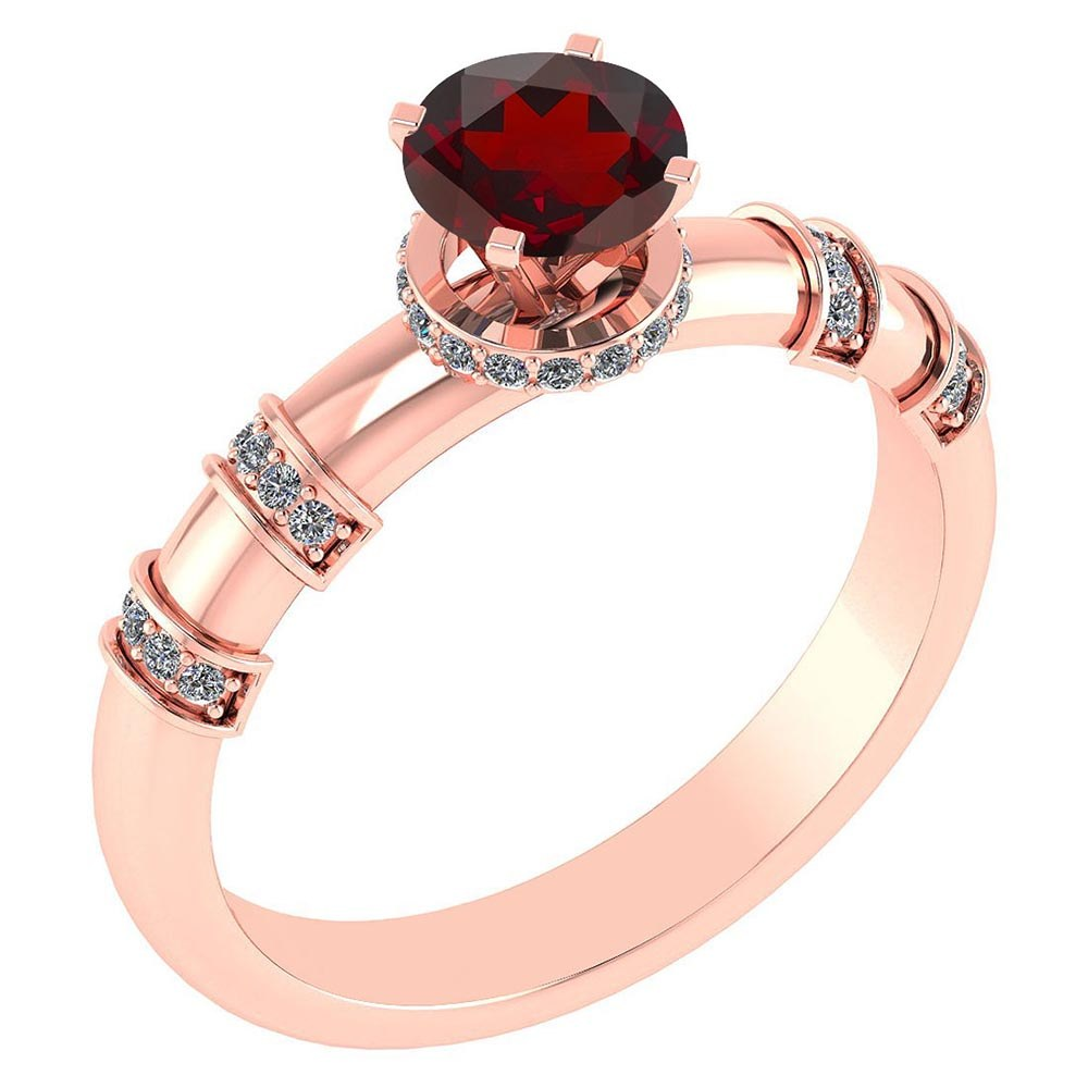 Certified .96 Ctw Genuine Garnet And Diamond 14k Rose Gold Engagement Ring #PAPPS94591