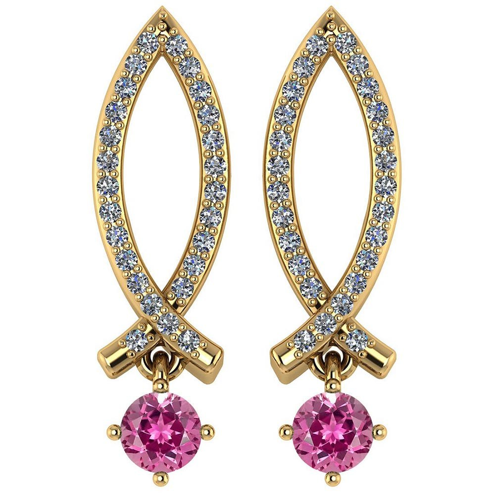Certified .72 Ctw Genuine Pink Tourmaline And Diamond 14k Yellow Gold Earrings #PAPPS94548