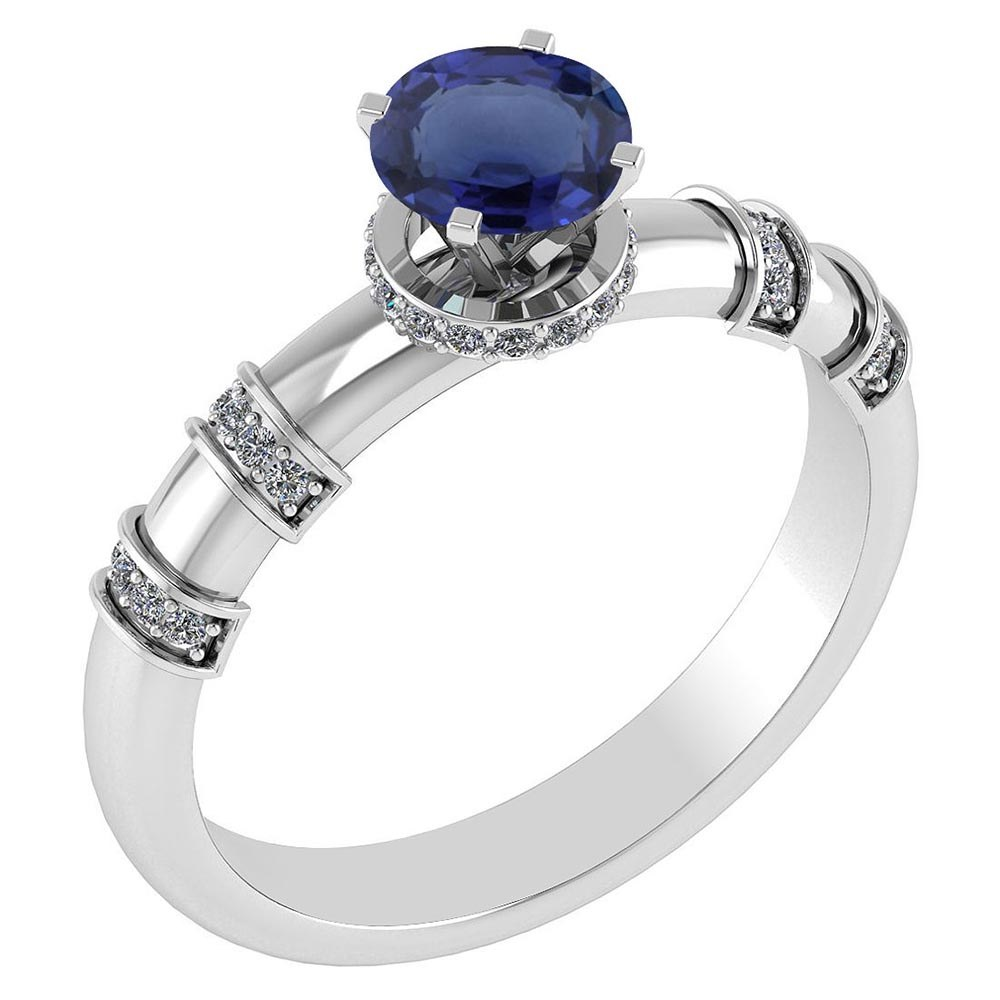 Certified .96 Ctw Genuine Blue Sapphire And Diamond 14k White Gold Engagement Ring #PAPPS94570