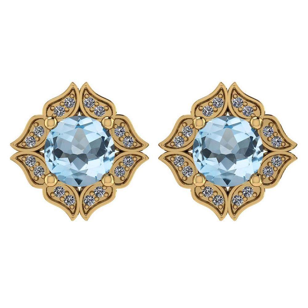 Certified .98 Ctw Genuine Aquamarine And Diamond 14k Yellow Gold Halo Stud Earrings #PAPPS94497