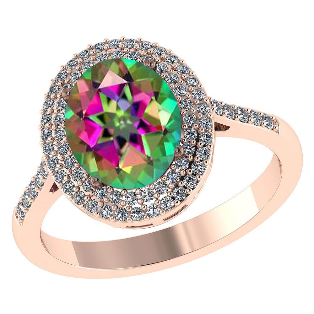 Certified 2.42 CTW Genuine Mystic Topaz And Diamond 14K Rose Gold Ring #PAPPS91485