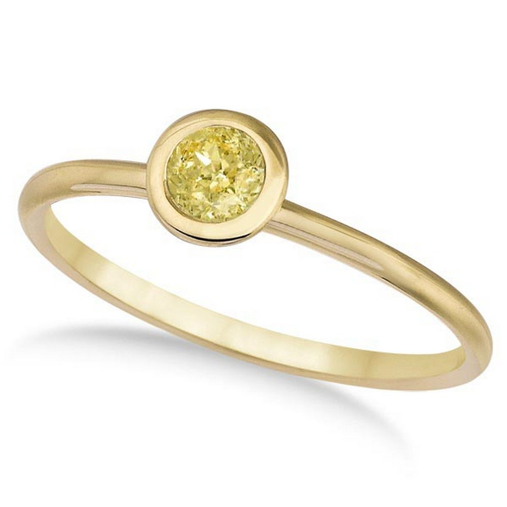 Fancy Yellow Canary Diamond Bezel-Set Solitaire Ring 14k Y. Gold (0.50ct) #PAPPS21291