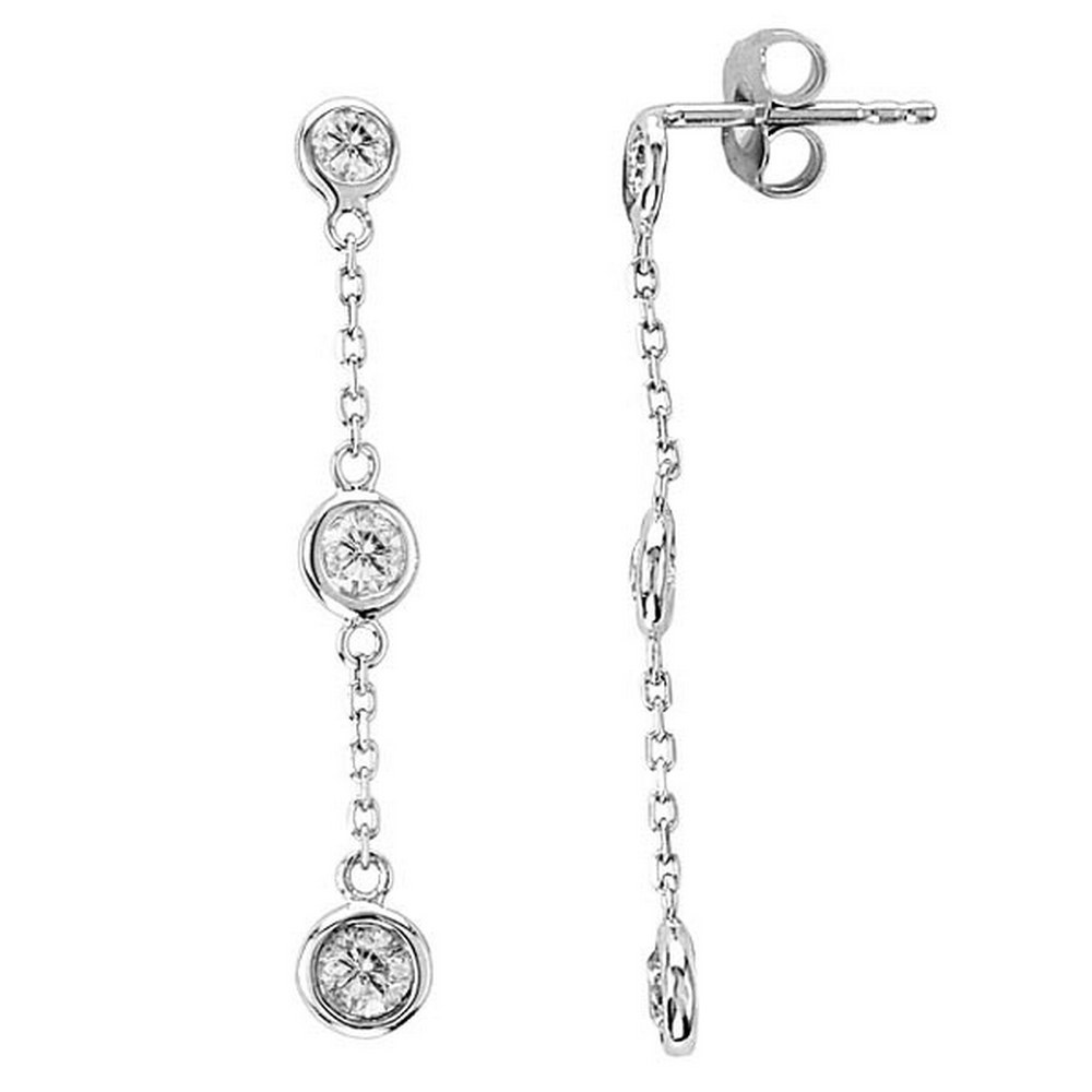 Diamonds by The Yard Bezel-Set Drop Earrings 14k White Gold (1.00ct) #PAPPS21264