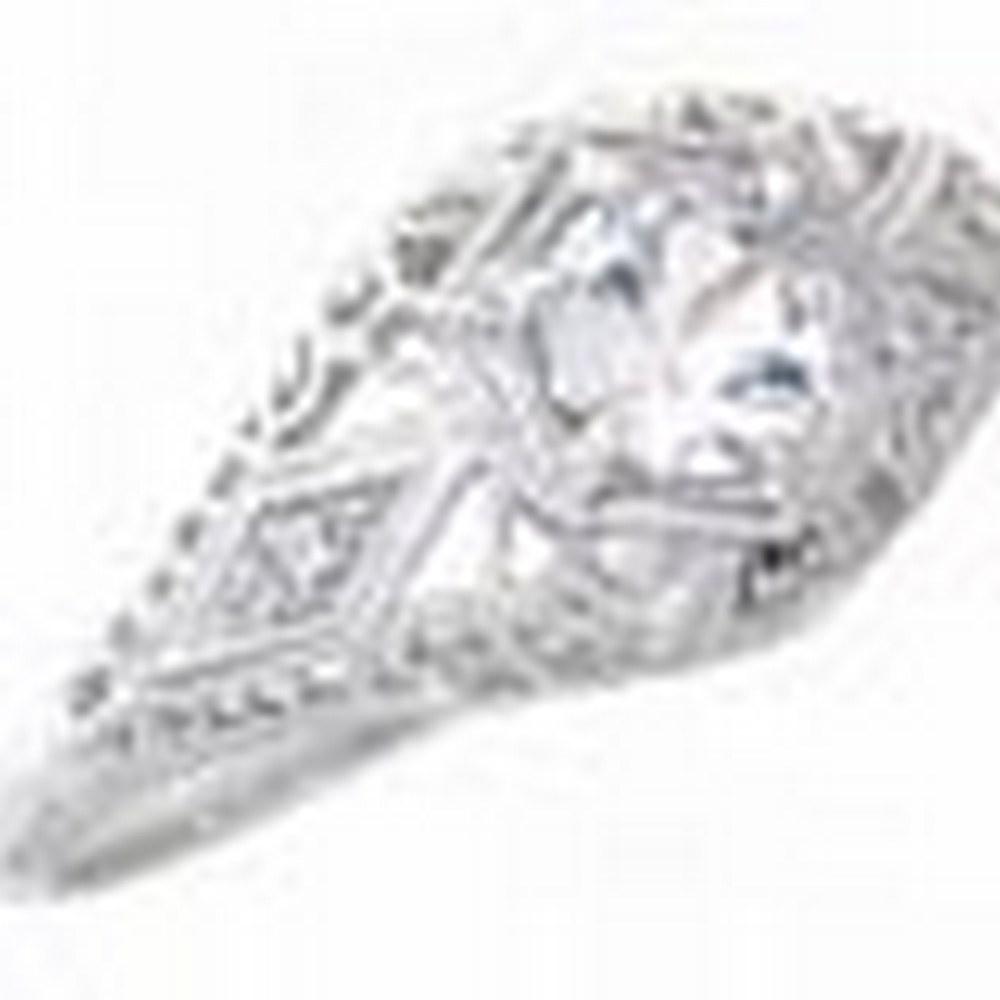 White Sapphire Art Deco Diamond Filigree Ring - 14kt White Gold #PAPPS11360