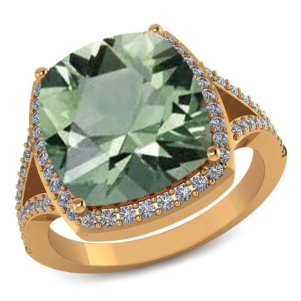 Certified 4.70 CTW Genuine Green Amethyst And Diamond 14K Yellow Gold Ring #PAPPS91569
