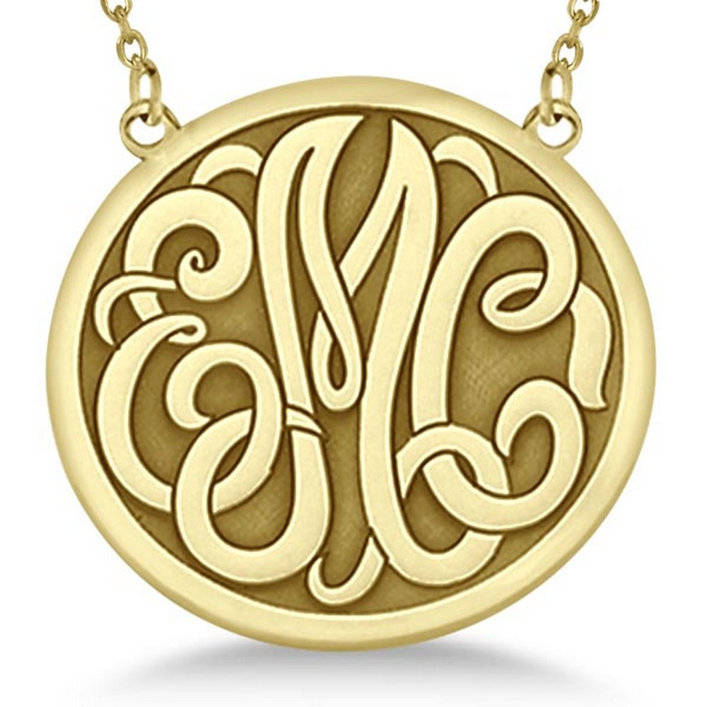 Engraved Initial Circle Monogram Pendant Necklace in 14k Yellow Gold #PAPPS21190