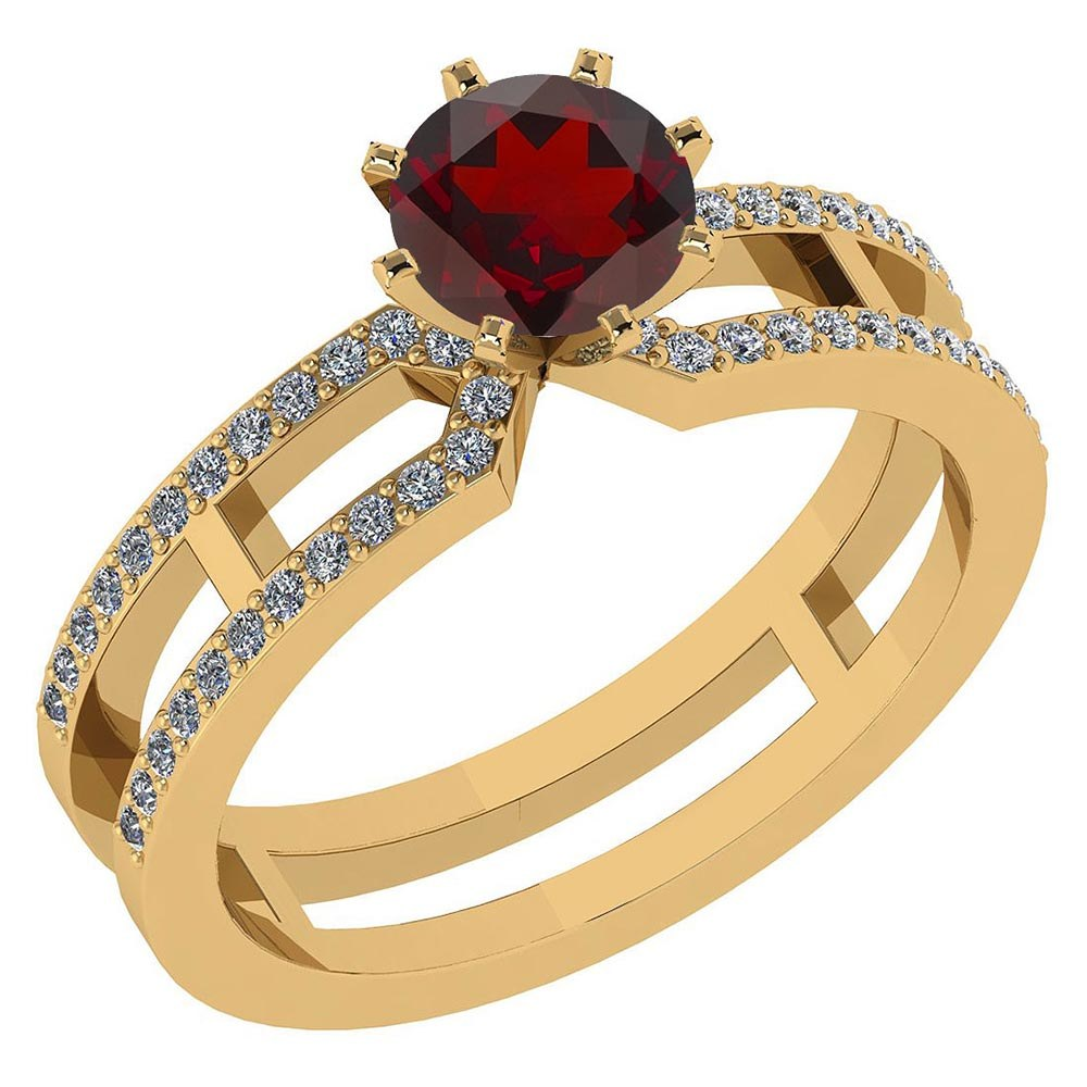 Certified 1.32 Ctw Genuine Garnet And Diamond 14k Yellow Gold Engagement Ring #PAPPS94635