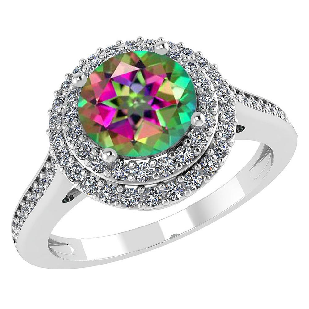 Certified 2.42 CTW Genuine Mystic Topaz And Diamond 14K White Gold Ring #PAPPS91529