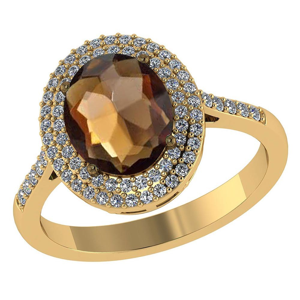 Certified 2.62 CTW Genuine Smoky Quartz And Diamond 14K Yellow Gold Ring #PAPPS91498