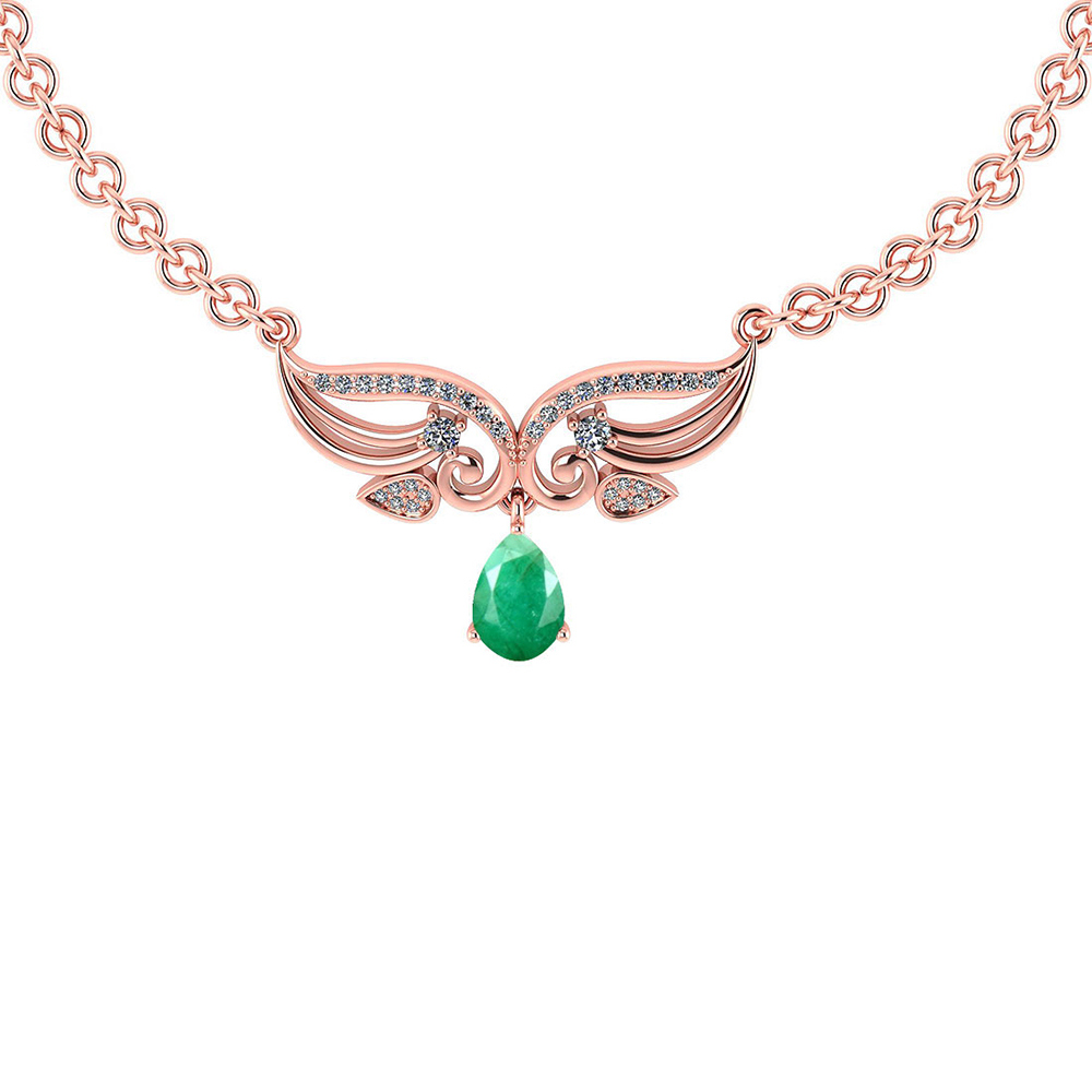 Certified 3.94 CTW Genuine Emerald And Diamond 14k Rose Gold Necklace #PAPPS93615