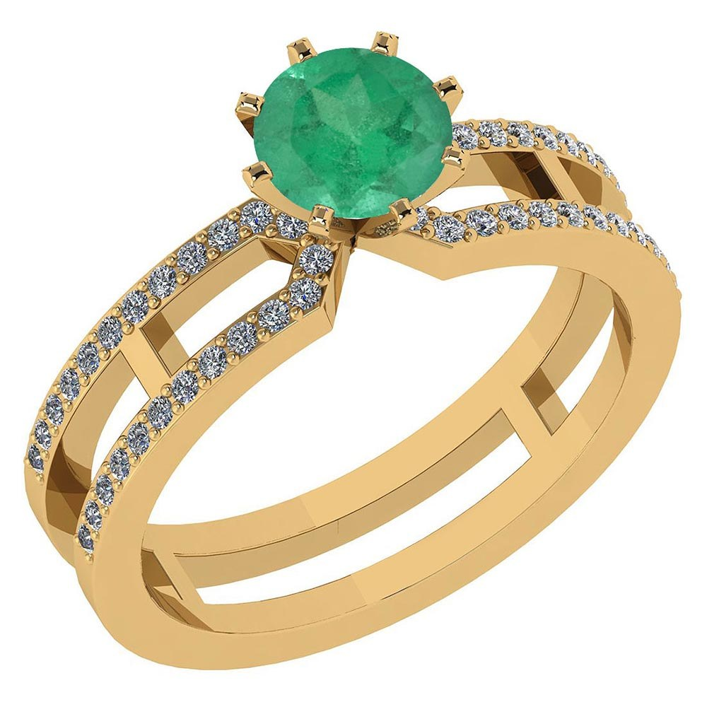 Certified 1.32 Ctw Genuine Emerald And Diamond 14k Yellow Gold Engagement Ring #PAPPS94628