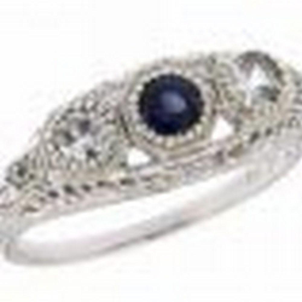 Art Deco Style White Blue Sapphire Filigree Ring w/ 4 Diamonds 14kt White Gold #PAPPS11363
