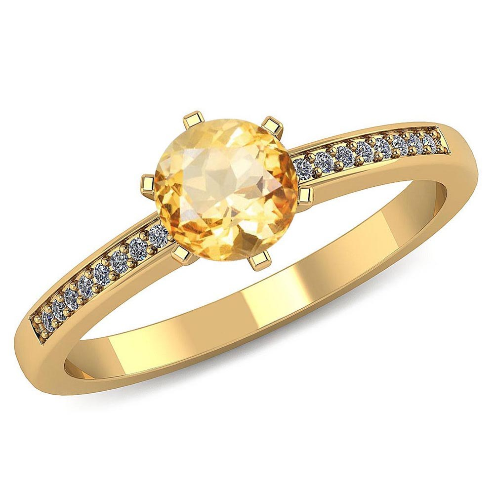 Certified 1.00 CTW Genuine Citrine And Diamond 14K Yellow Gold Ring #PAPPS91475