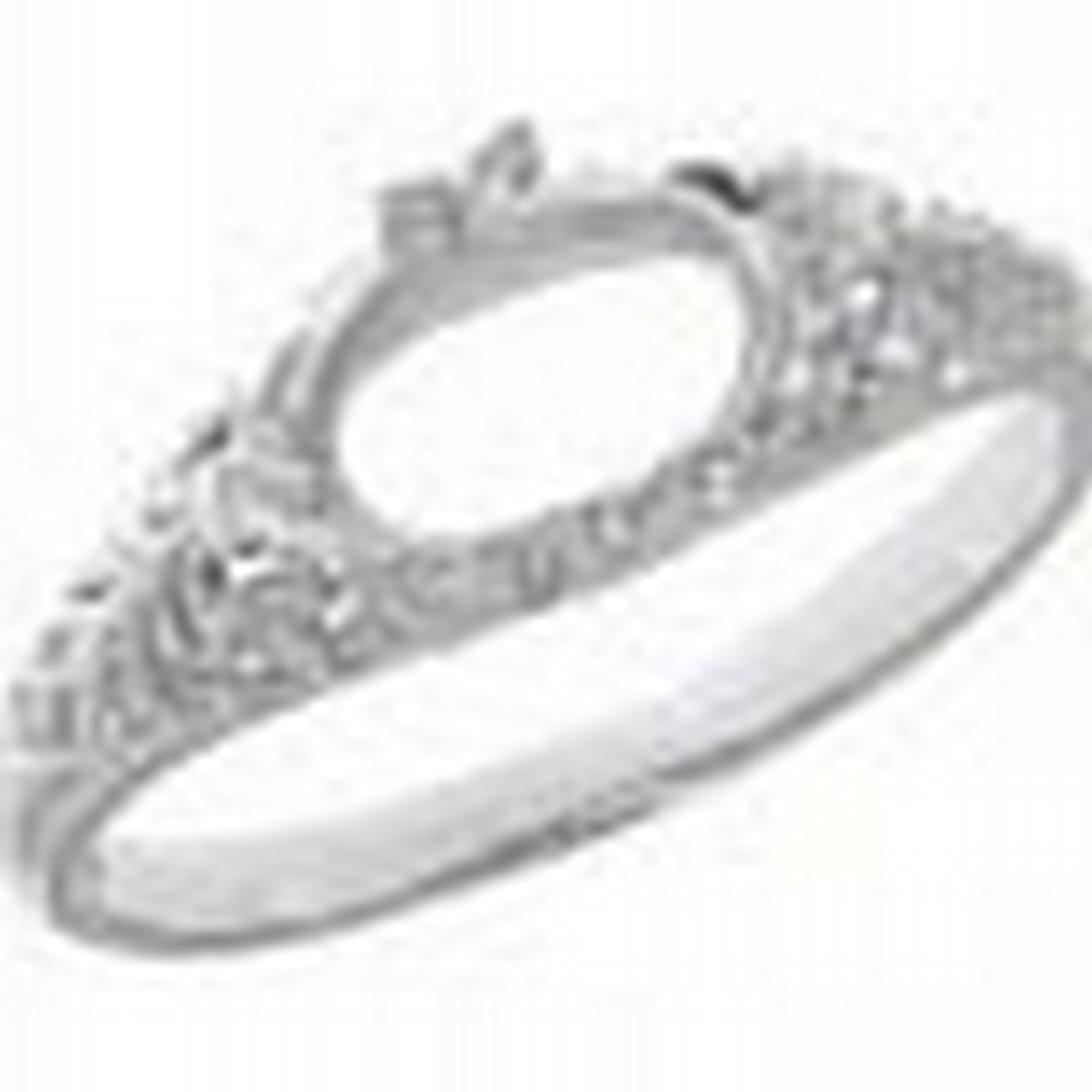 Semi Mount Art Deco Style 14kt White Gold Filigree Ring 6 x 8mm Oval #PAPPS11311