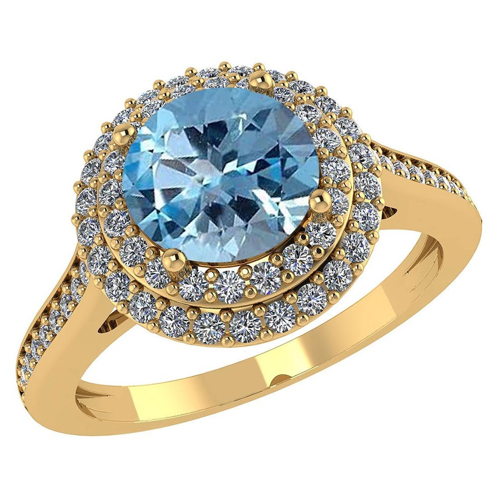 Certified 3.12 CTW Genuine Aquamarine And Diamond 14K Yellow Gold Ring #PAPPS91536