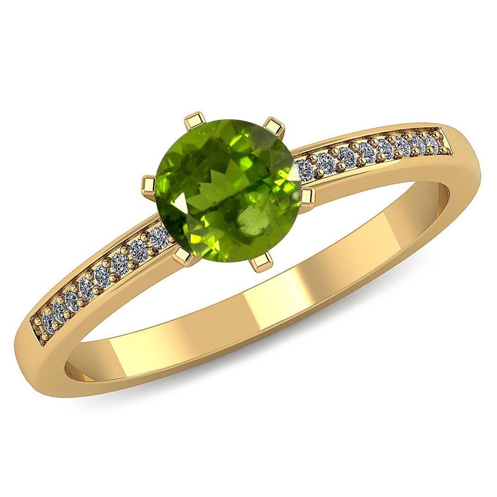 Certified 1.00 CTW Genuine Peridot And Diamond 14K Yellow Gold Ring #PAPPS91472