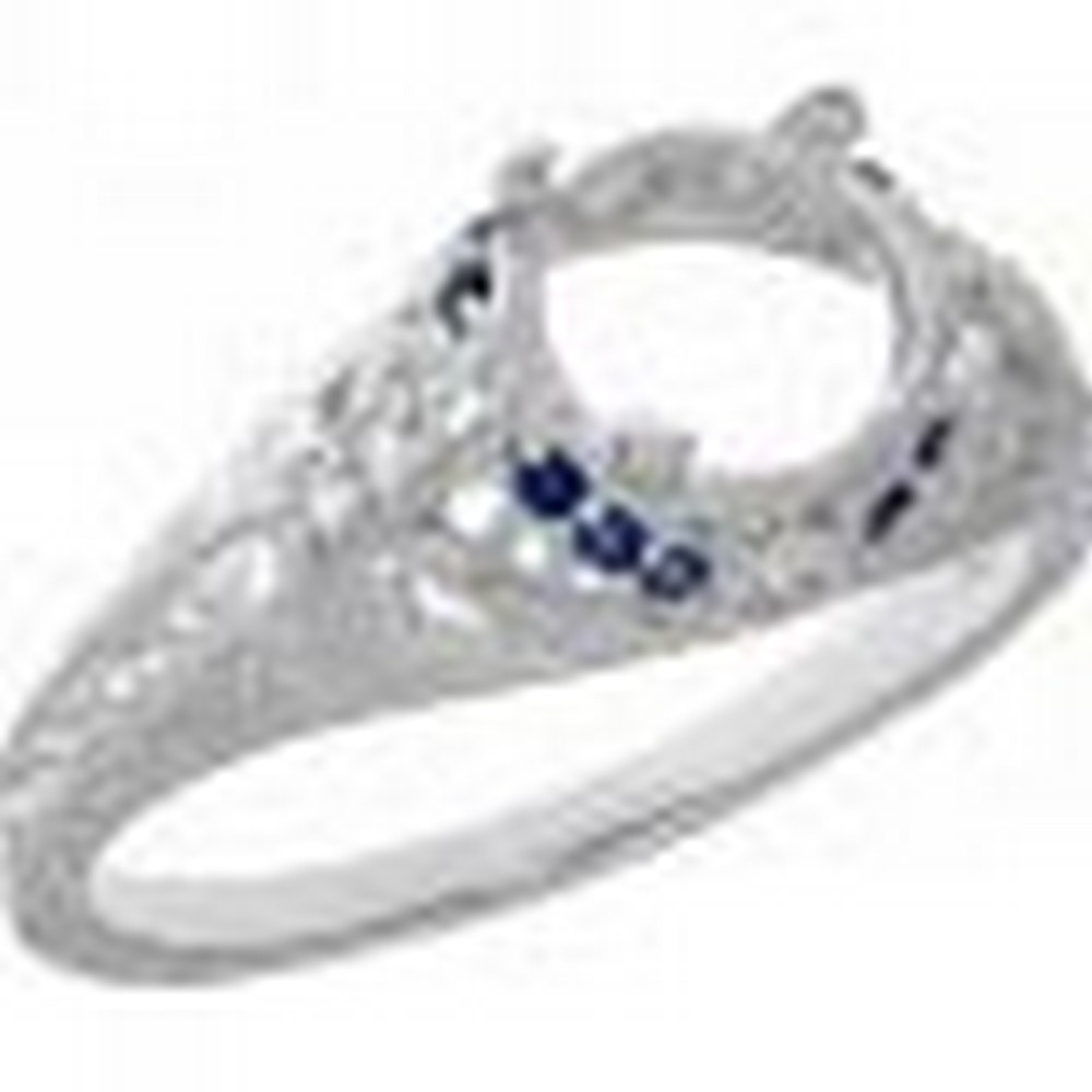 Art Deco Style Semi-Mount Filigree Ring Diamond and Blue Sapphire Accents - 14kt White Gold #PAPPS11327