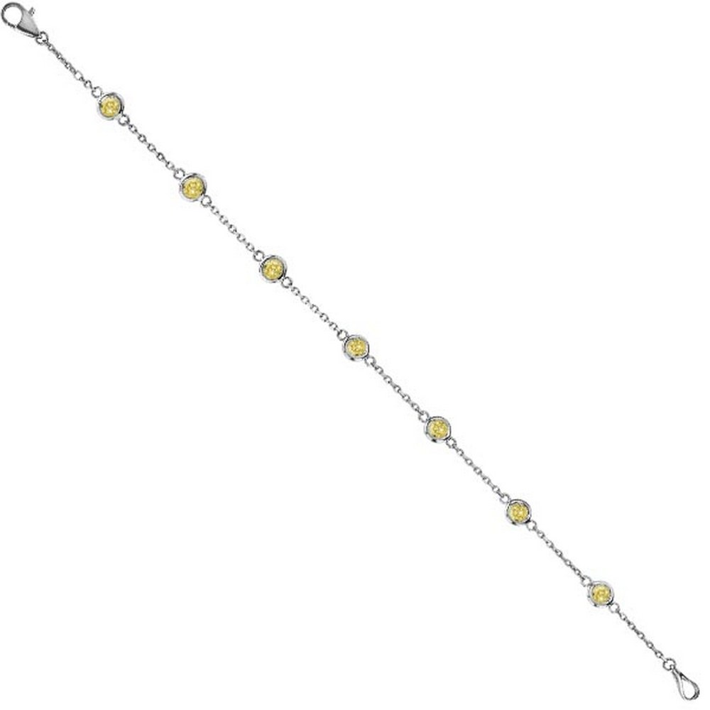 Yellow Diamonds by The Yard Bezel-Set Bracelet 14K White Gold (1.00ct) #PAPPS21308