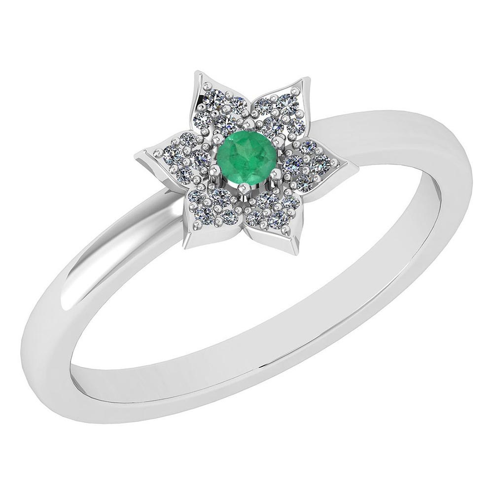 Certified .39 Ctw Genuine Emerald And Diamond 14k White Gold Halo Ring #PAPPS94463