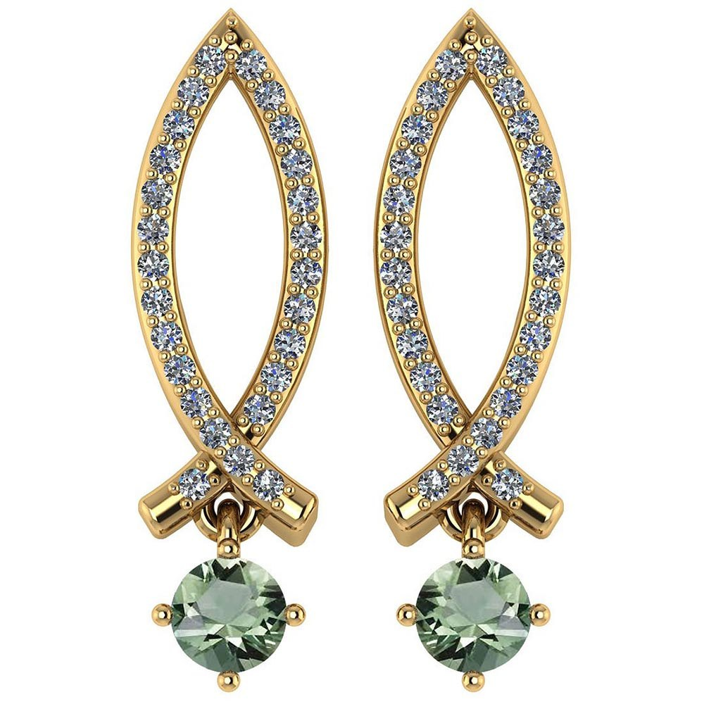Certified .72 Ctw Genuine Green Amethsyt And Diamond 14k Yellow Gold Earrings #PAPPS94554