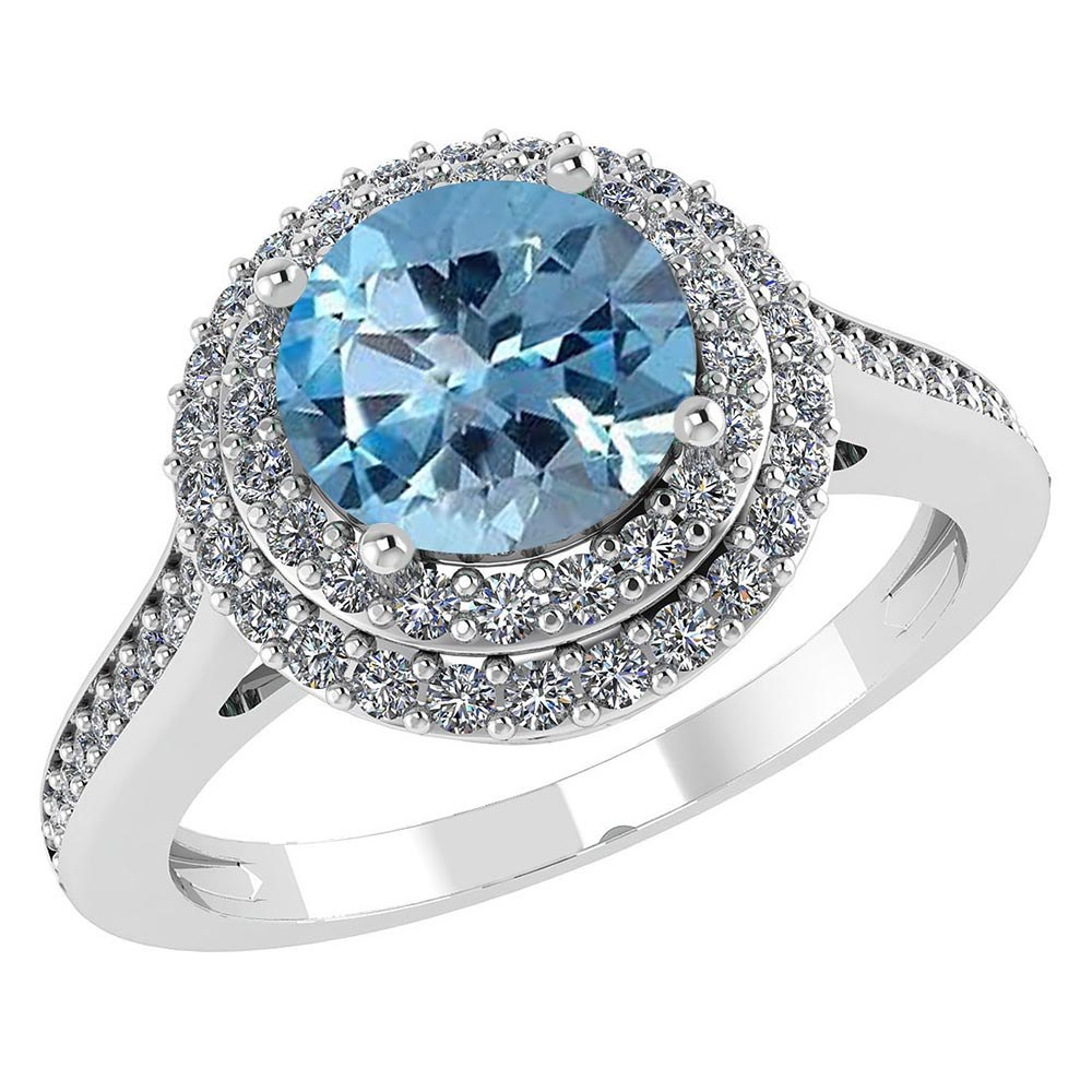 Certified 3.12 CTW Genuine Aquamarine And Diamond 14K White Gold Ring #PAPPS91525