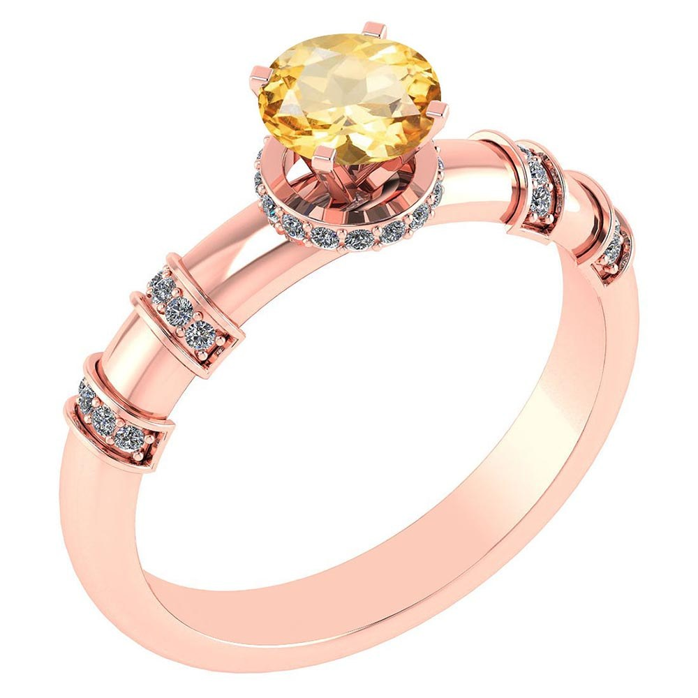 Certified .96 Ctw Genuine Citrine And Diamond 14k Rose Gold Engagement Ring #PAPPS94589