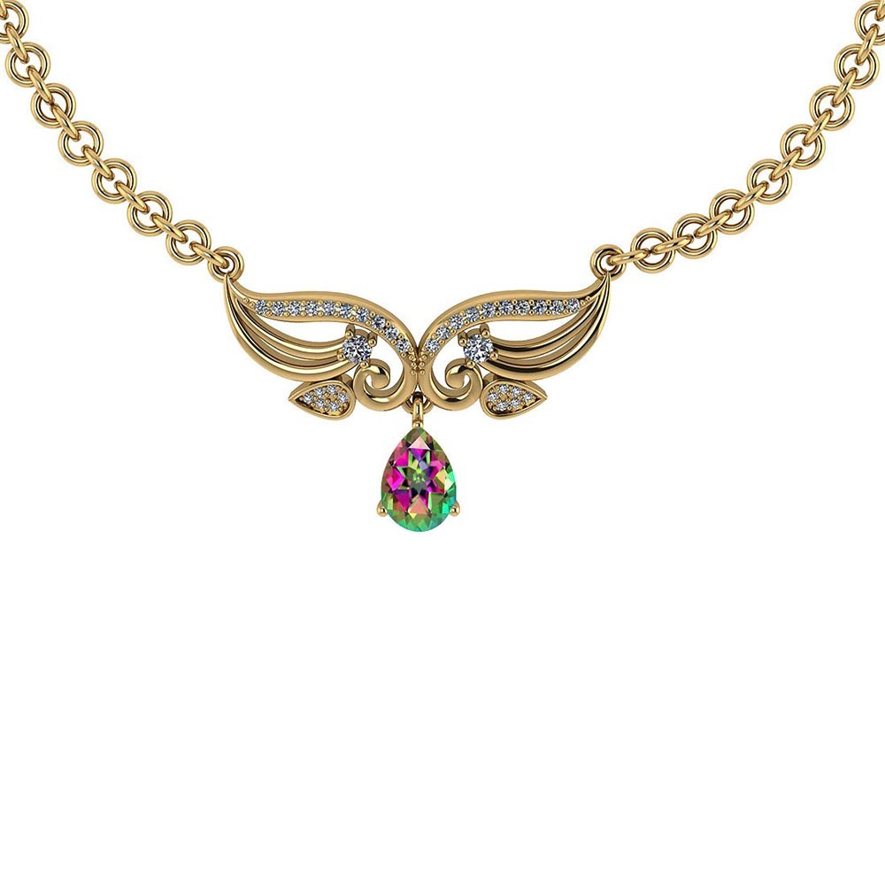 Certified 3.94 Ctw Genuine Mystic Topaz And Diamond 14k Yellow Princess Necklace #PAPPS94601