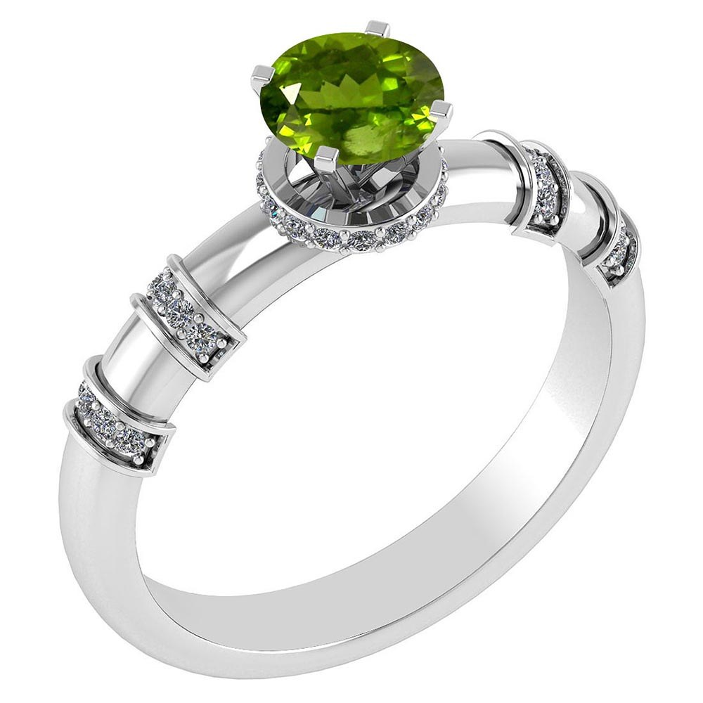 Certified .96 Ctw Genuine Peridot And Diamond 14k White Gold Engagement Ring #PAPPS94577