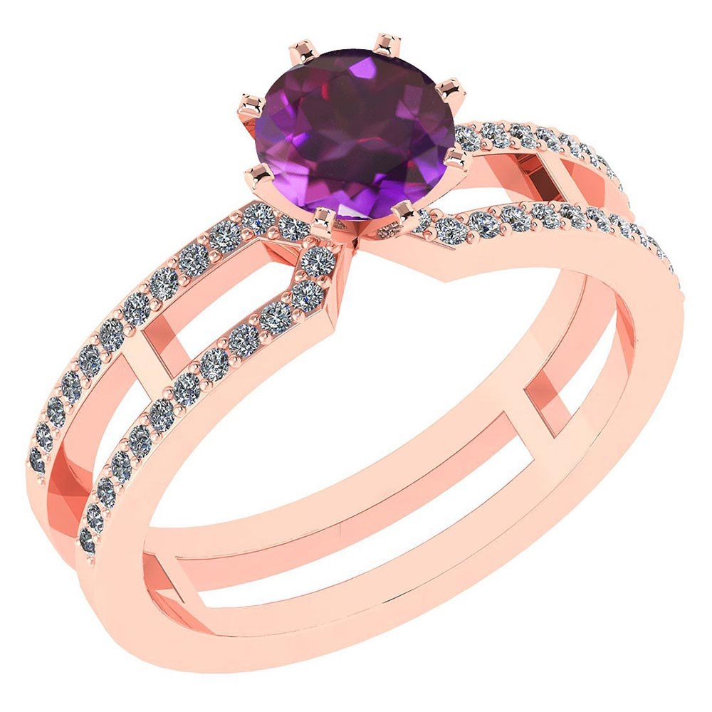 Certified 1.32 Ctw Genuine Amethyst And Diamond 14k Rose Gold Engagement Ring #PAPPS94641