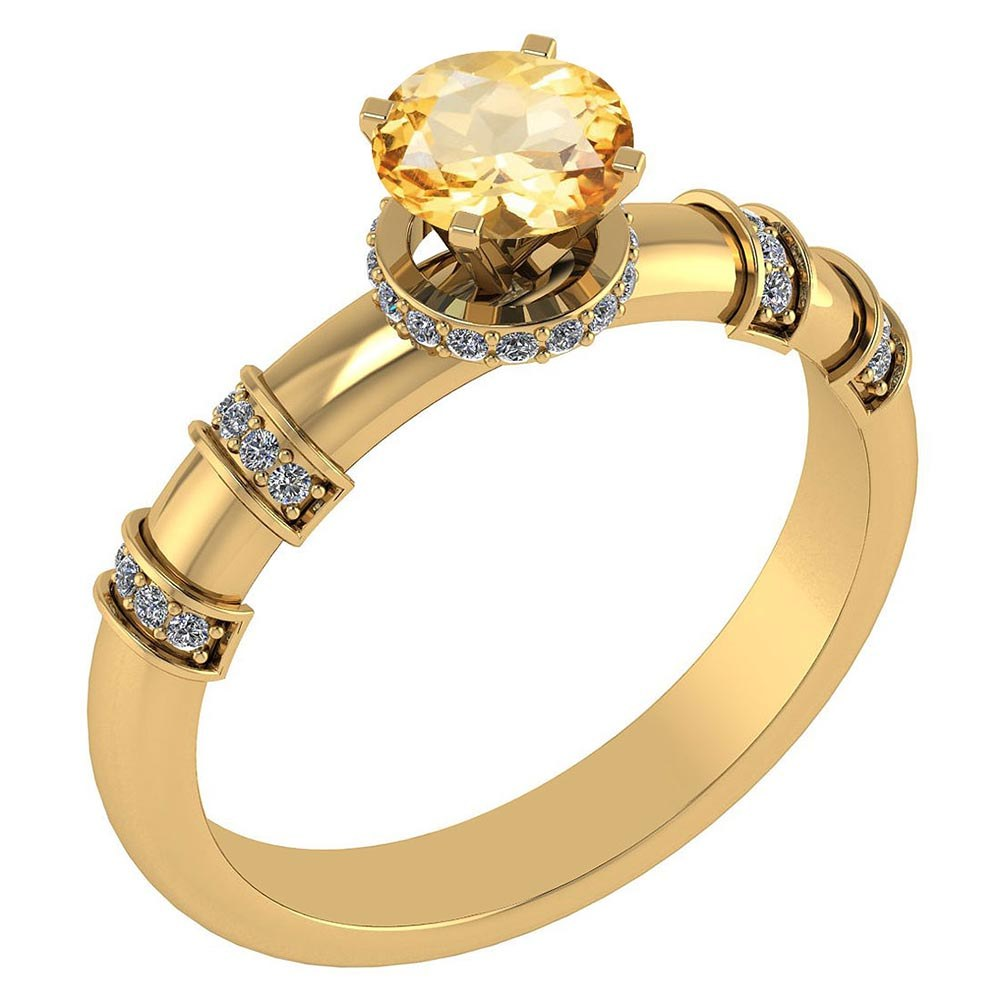 Certified .96 Ctw Genuine Citrine And Diamond 14k Yellow Gold Engagement Ring #PAPPS94567
