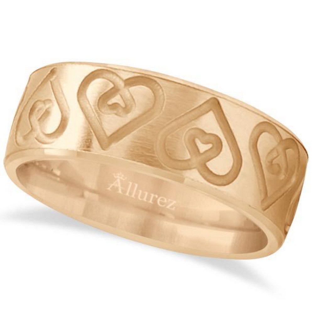 Ultra-Fancy Embossed Twin Heart Wedding Band in 18k Rose Gold #PAPPS21255