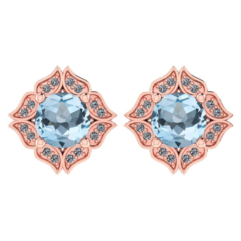 Certified .98 Ctw Genuine Aquamarine And Diamond 14k Rose Gold Halo Stud Earrings #PAPPS94508