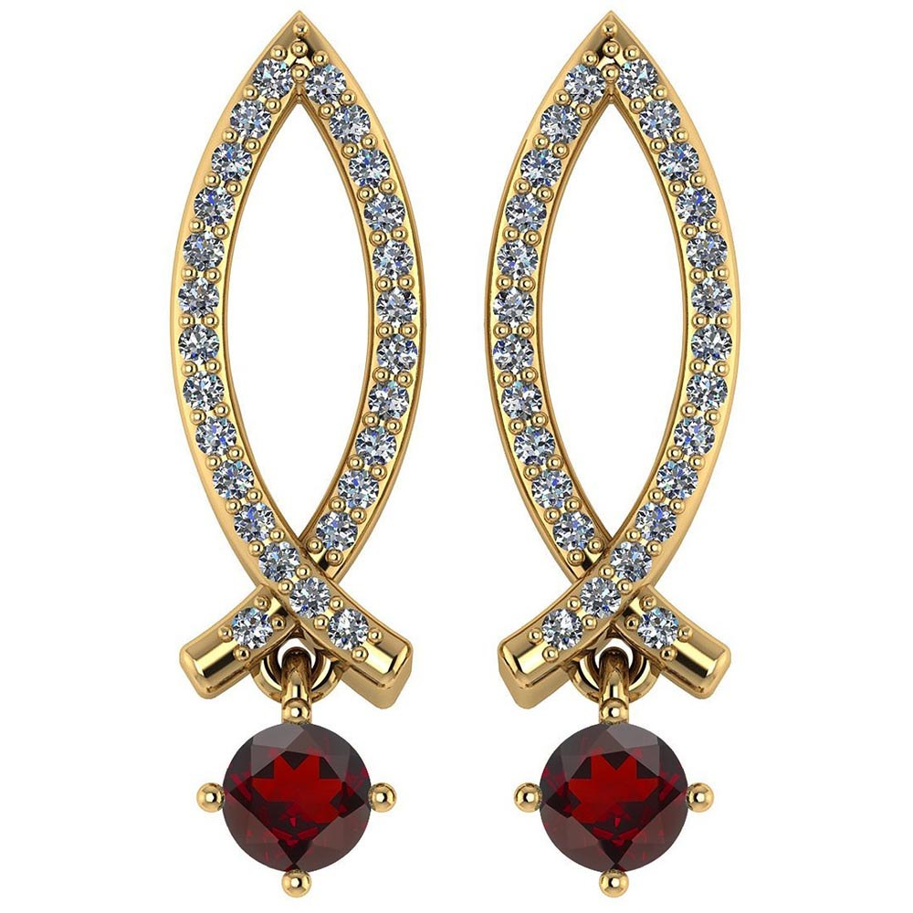 Certified .72 Ctw Genuine Garnet And Diamond 14k Yellow Gold Earrings #PAPPS94552
