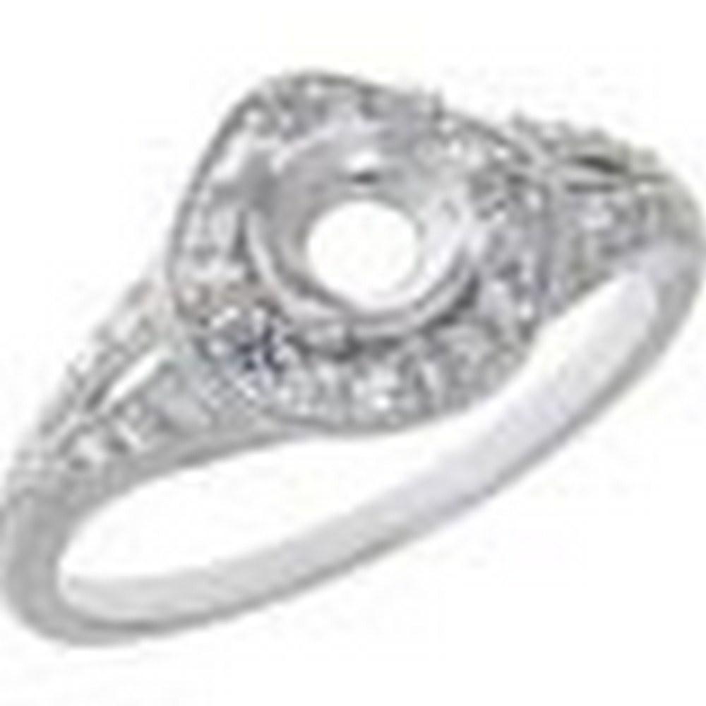 Art Deco Style 14kt White Gold Semi Mount Diamond Filigree Ring #PAPPS11321