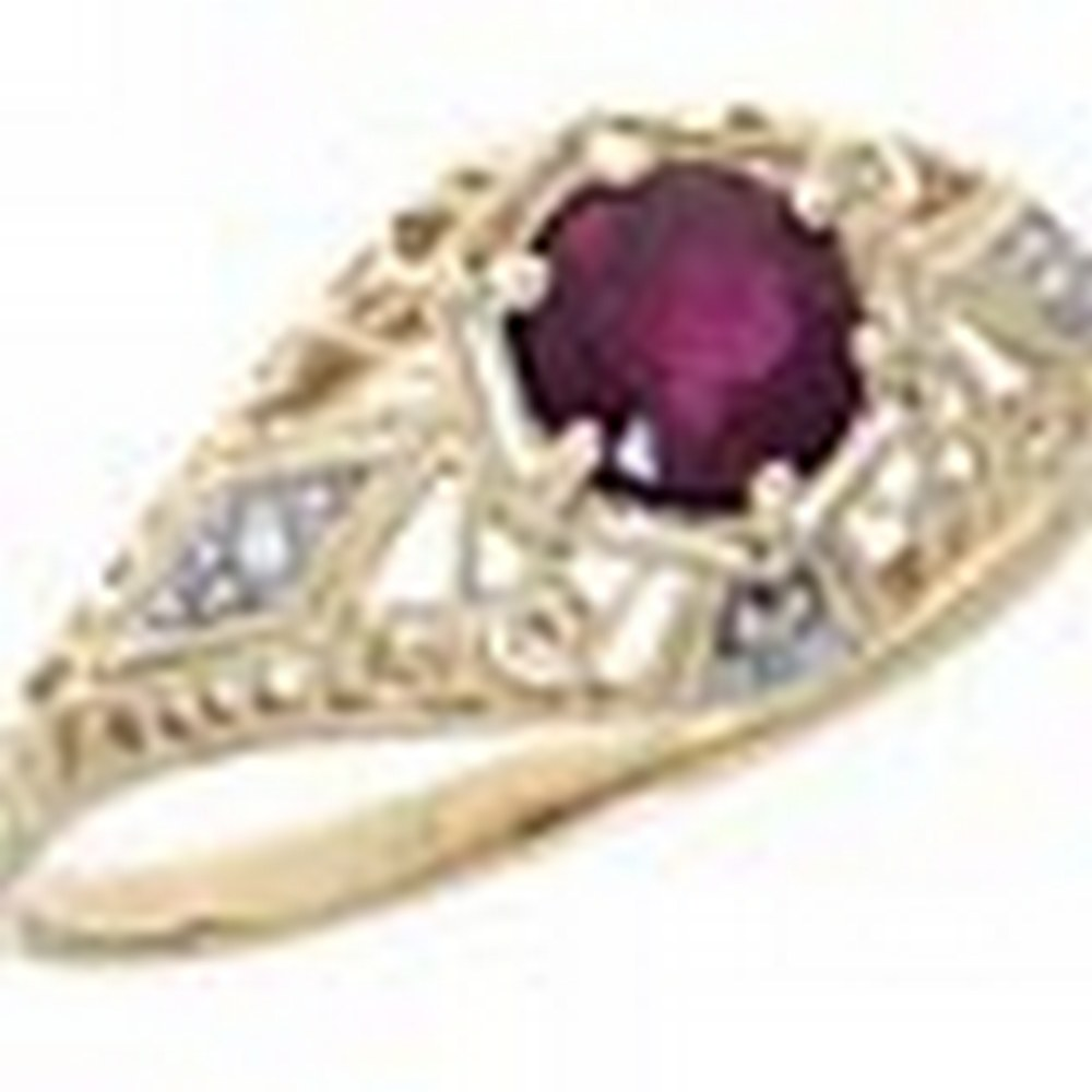 Ruby Art Deco Style Diamond Filigree Ring - 14kt Yellow Gold #PAPPS11337