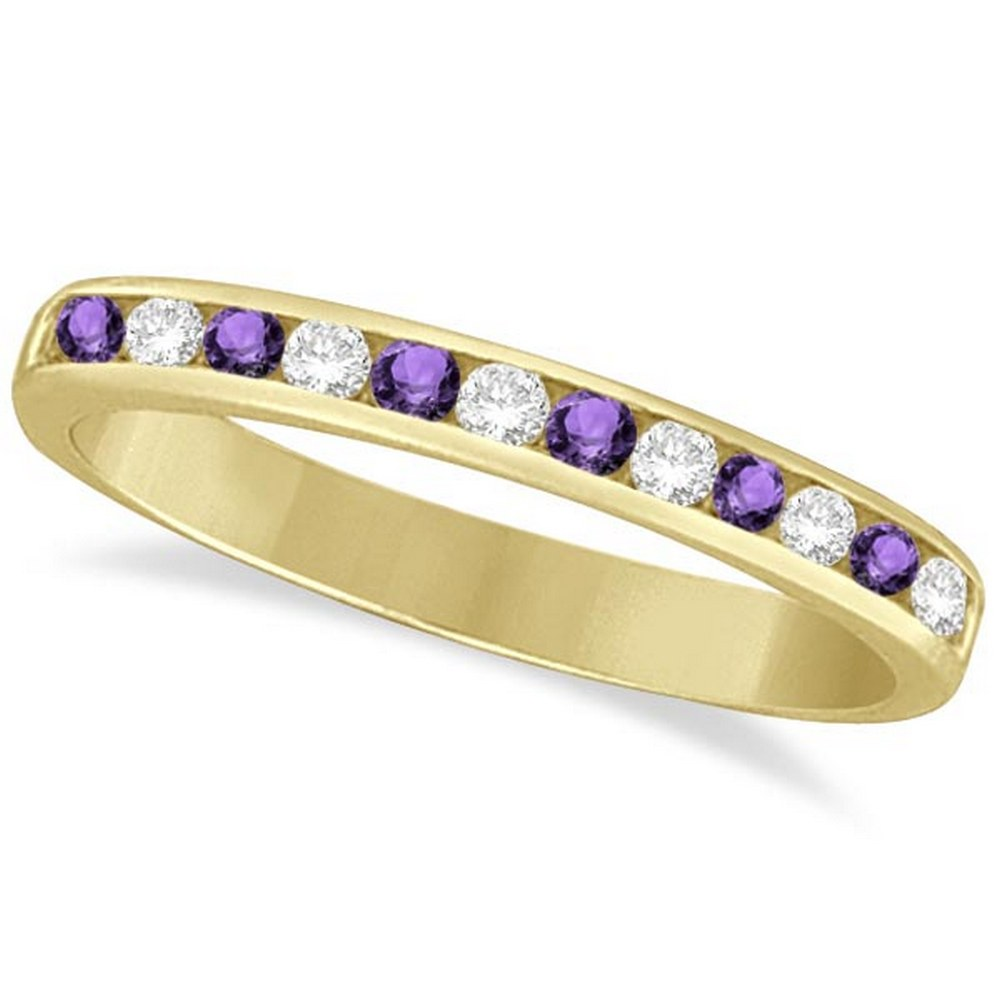 Amethyst and Diamond Semi-Eternity Channel Ring 14k Yellow Gold (0.40ct) #PAPPS21217
