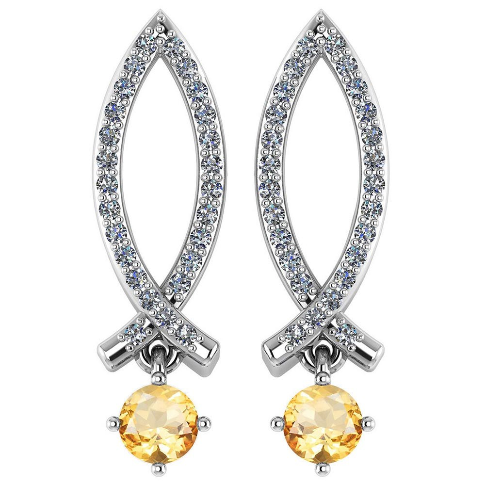 Certified .72 Ctw Genuine Citrine And Diamond 14k White Gold Earrings #PAPPS94533