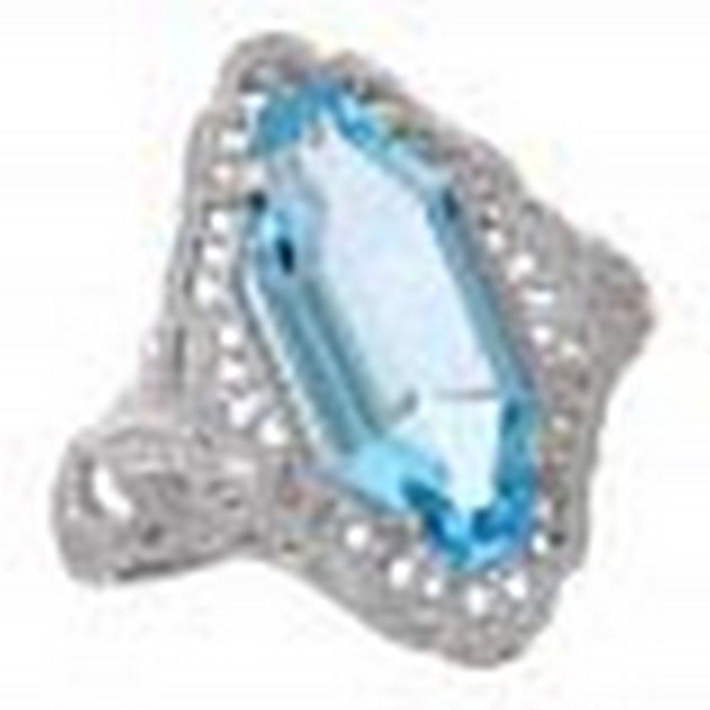 Art Deco Style Blue Topaz Filigree Ring - 14kt White Gold #PAPPS11398