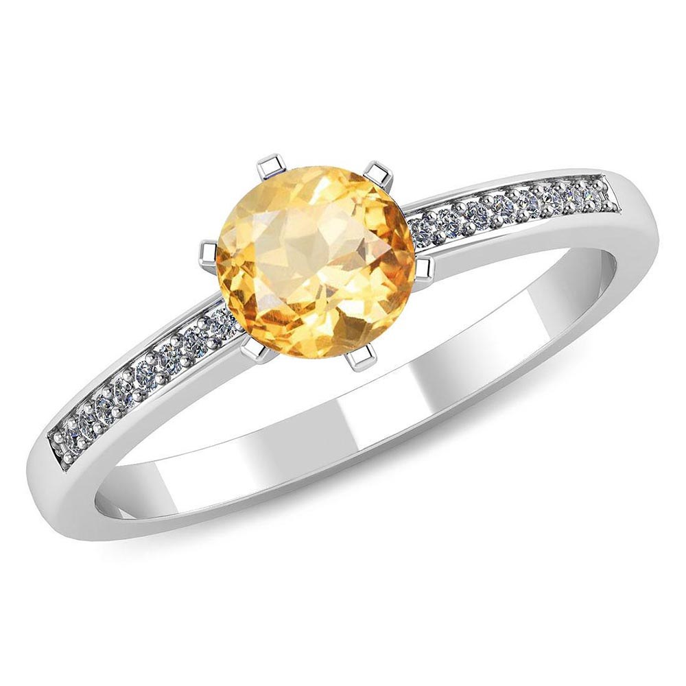 Certified 1.00 CTW Genuine Citrine And Diamond 14K White Gold Ring #PAPPS91464
