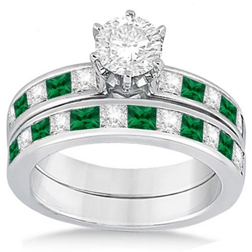 Channel Emerald and Diamond Bridal Set 18k White Gold (1.80ct) #PAPPS21240