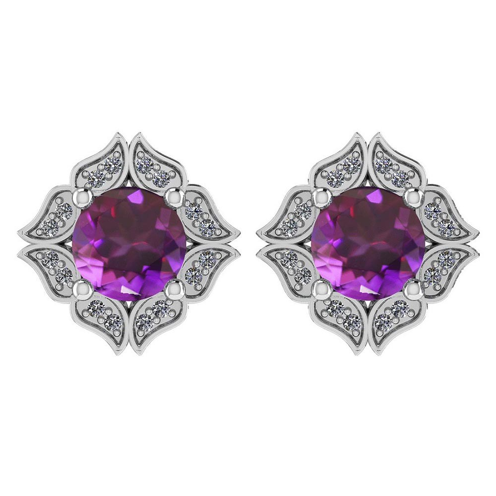 Certified .98 Ctw Genuine Amethyst And Diamond 14k White Gold Halo Stud Earrings #PAPPS94520