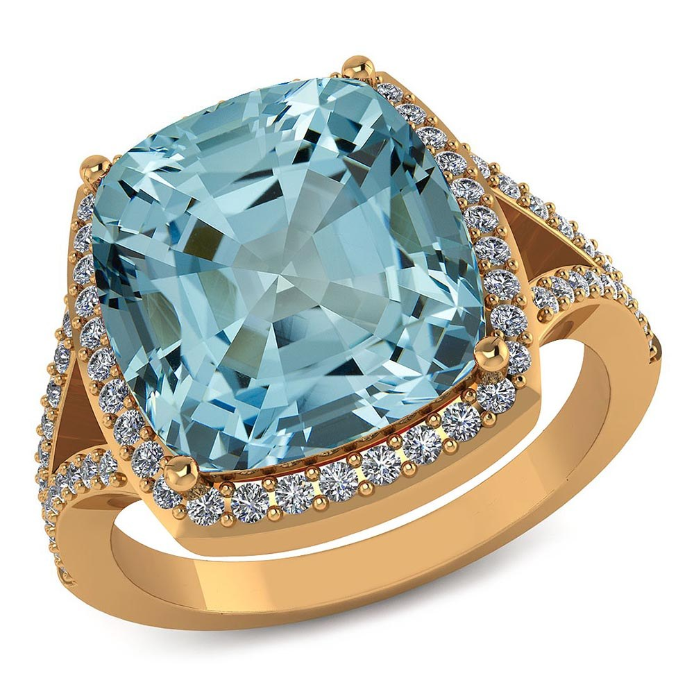 Certified 4.50 CTW Genuine Aquamarine And Diamond 14K Y Gold Ring #PAPPS91573